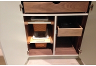 Wicker basket and pull-out drawers