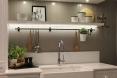 Backsplash with decorative shelf